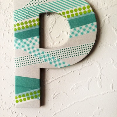 Easy Washi Tape Letter P wall decor, Delineateyourdwelling.com