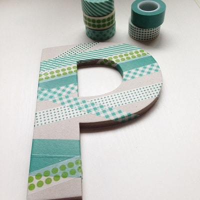 Washi Tape Letter P wall decor.JPG