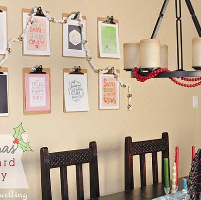 Christmas Clipboard Gallery Wall