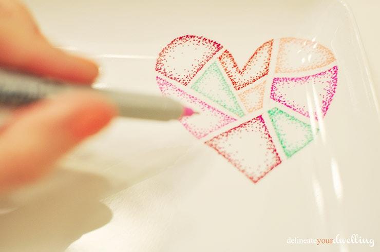 Sharpie Valentine's Day Dish stipple, Delineateyourdwelling.com