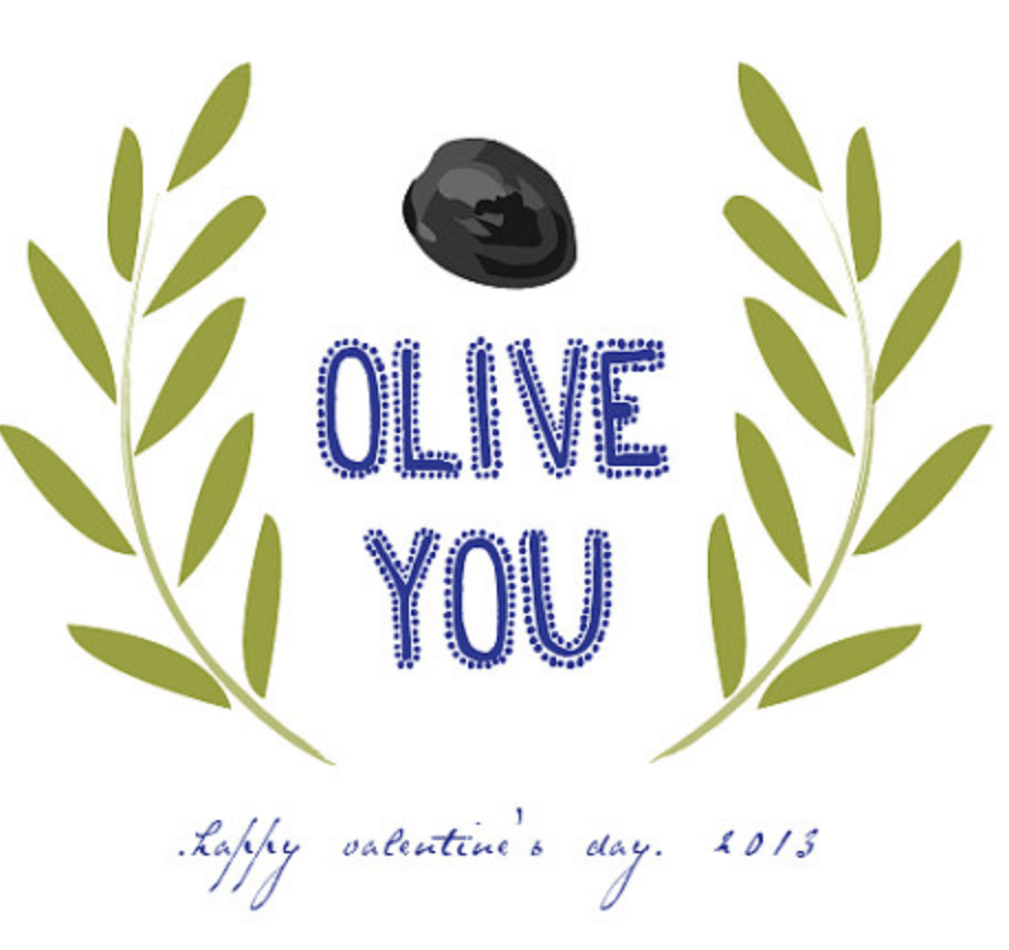 Olive You, Valentine's Day print - Delineateyourdwelling.com