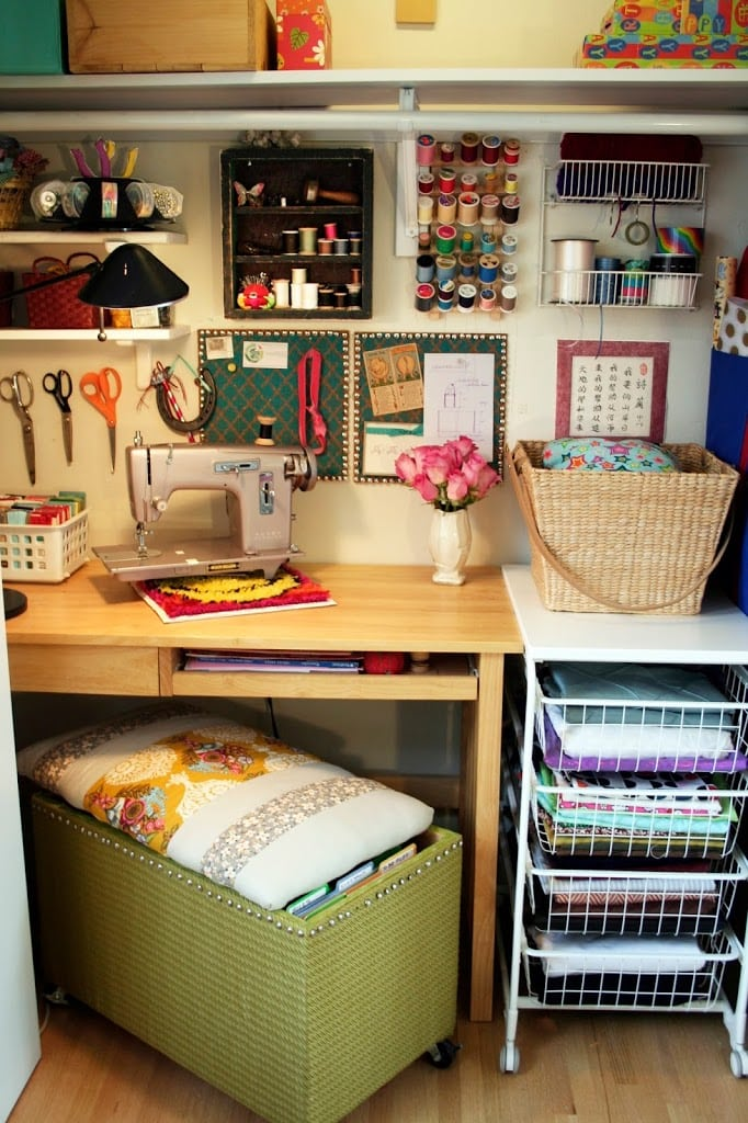 Cozy craft space - Small space sewing area style ...