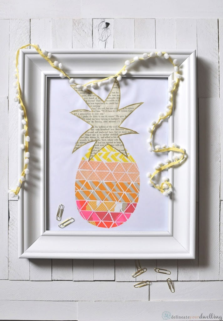 Pineapple Washi tape print, Delineate Your Dwelling #pineapple #washitape #wall decor #neon