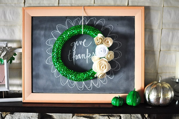 Fall Home Fireplace, Delineate Your Dwelling #emeraldgreen #gold #white #chalkboard #wreath