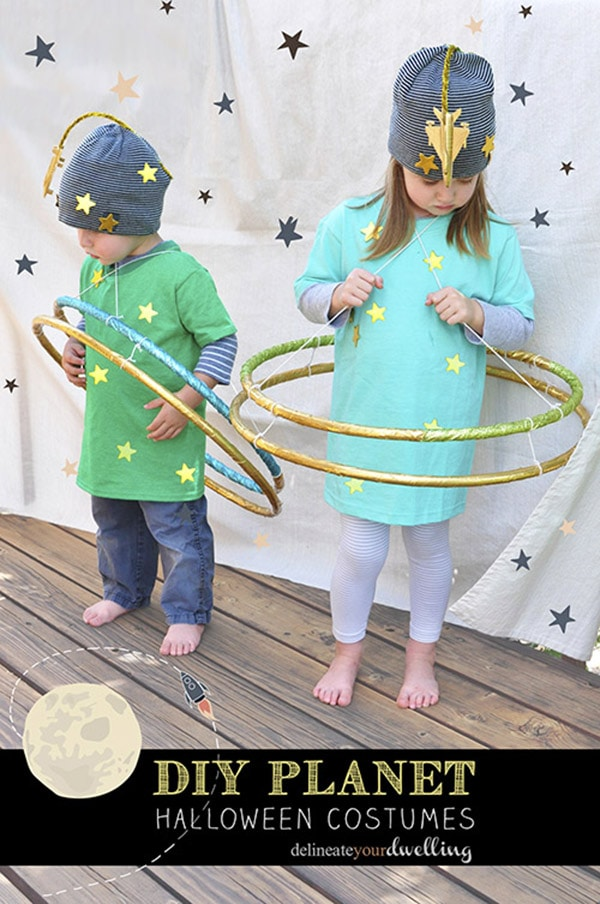 Easy to Make Planet Halloween Costumes with hula hoops, Delineate Your Dwelling