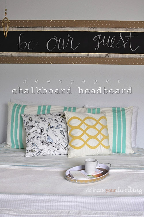 Chalkboard Headboard - Delineate Your Dwelling #officeupdates