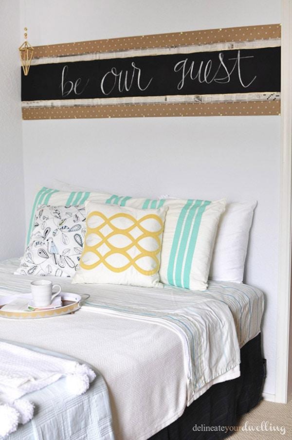 Easy to make DIY Chalkboard Head board! Delineate Your Dwelling