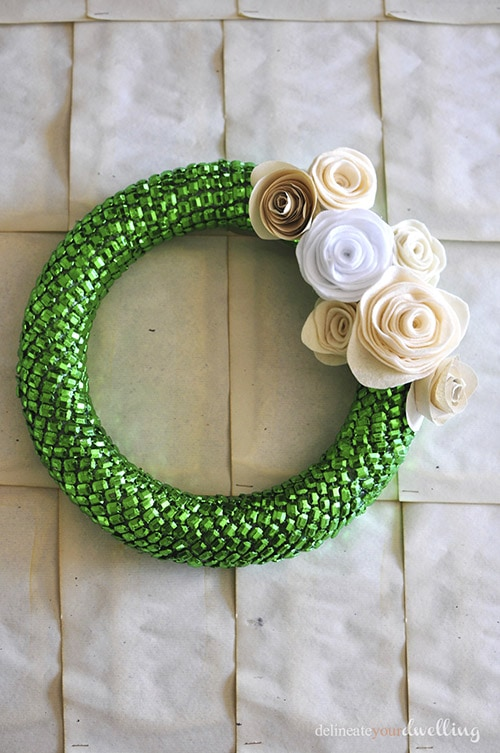 green beaded wreath