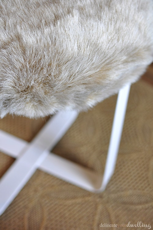 Faux Fur foot stool, Delineate Your Dwelling