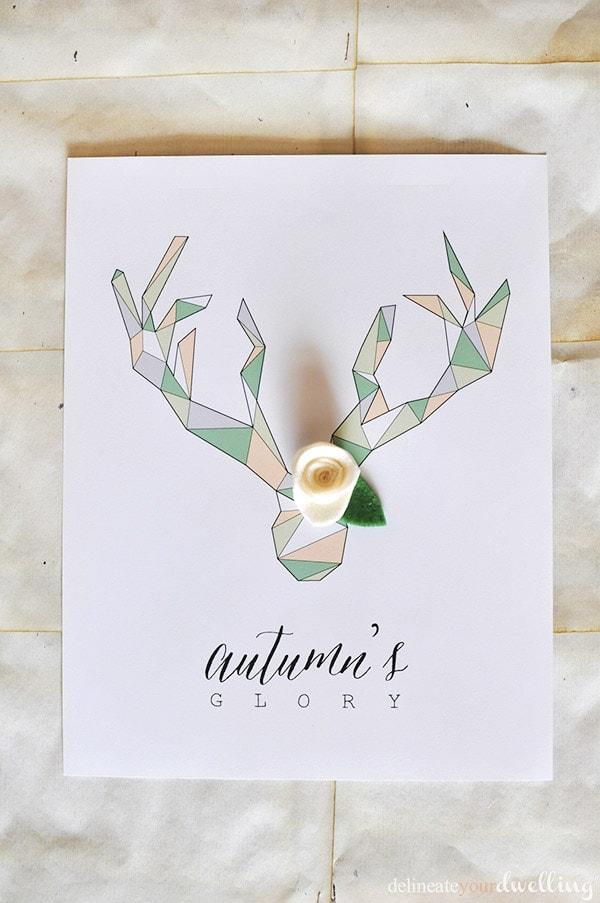 Geometric Deer Antler Printable, Delineateyourdwelling.com