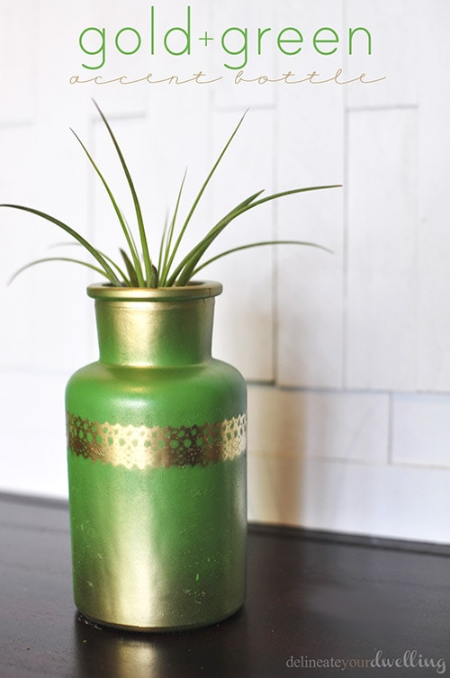 Gold + Green Accent Bottle, Delineate Your Dwelling #fall #decor