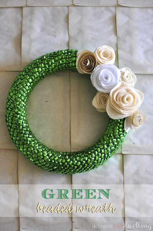 Green Beaded Wreath, Delineate Your Dwelling #fall #decor