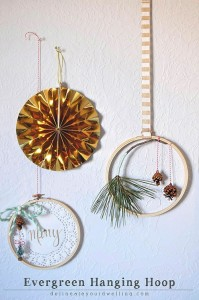 Evergreen Hanging Hoop decor, Delineateyourdwelling.com