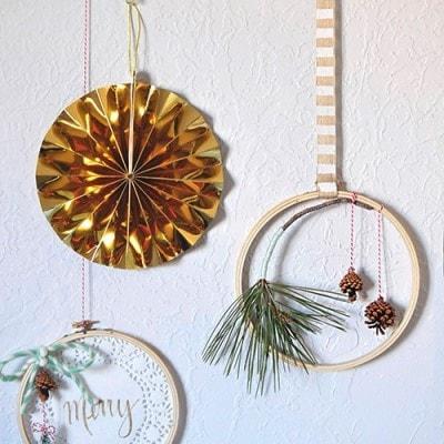 Evergreen Hanging Hoop decor, Delineateyourdwelling.com
