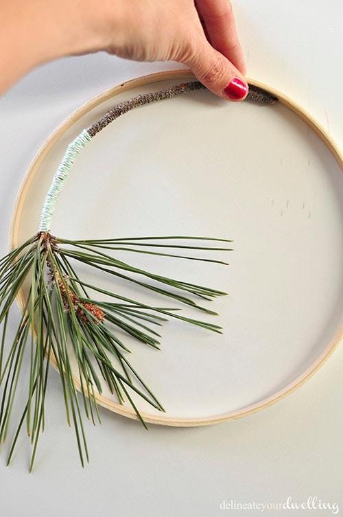 Evergreen Hanging Hoop branch, Delineateyourdwelling.com