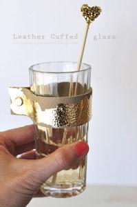Gold Leaf Leather Cuffed Glass, Delineateyourdwelling.com