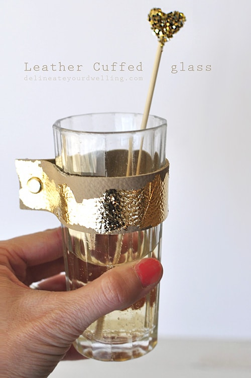 Gold Leaf Leather Cuffed Glass, Delineateyourdwelling.com