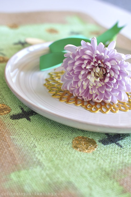 Gold Foil Placemat flower, delineateyourdwelling.com