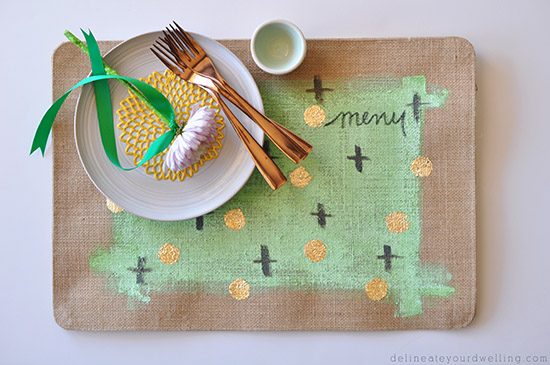 Gold Foil Placemat setting, delineateyourdwelling.com