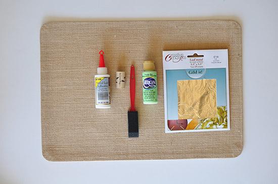 Gold Foil Placemat supplies
