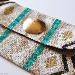 Stamped Tribal Clutch closeup, delineateyourdwelling.com