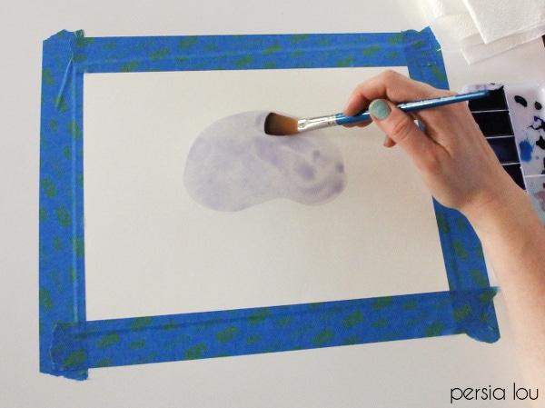 Watercolor agate slice step 2