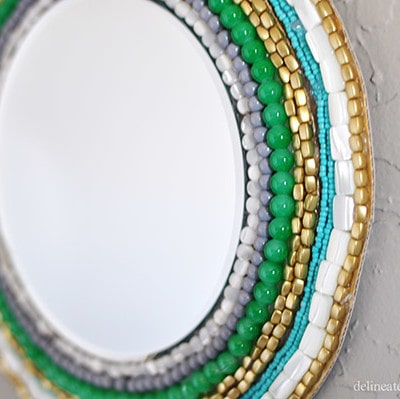 Beaded Wall Mirror closeup
