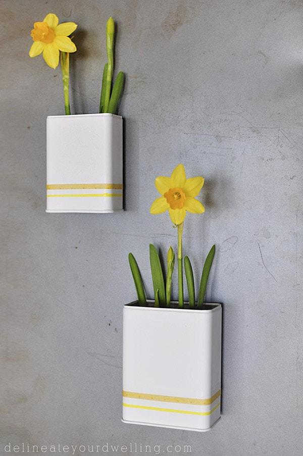 DIY Magnetic Daffodil Planter, Delineateyourdwelling.com