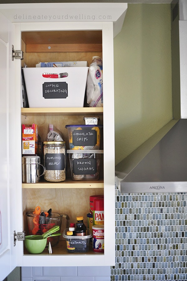Kitchen Cabinet Baking Organizing, delineateyourdwelling.com