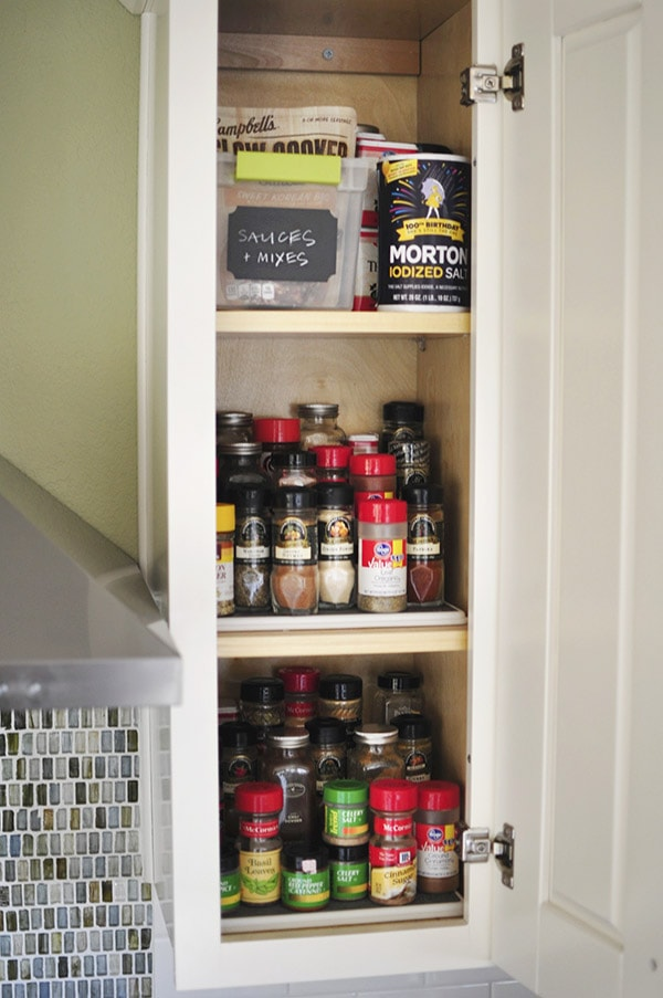 Kitchen Cabinet Spice Organizing