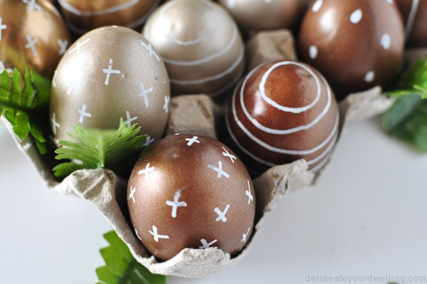 Metallic Easter Eggs closeup