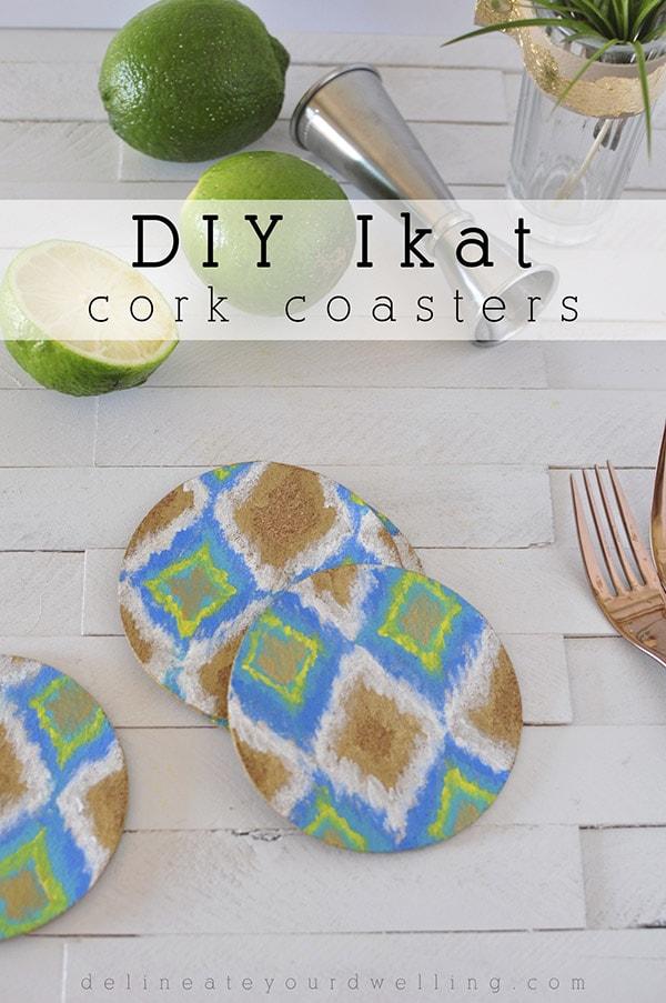 DIY Ikat Cork Coasters, Delineateyourdwelling.com