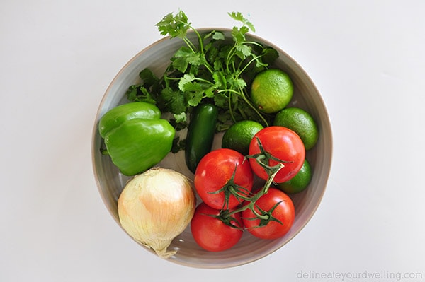 Homemade Salsa ingredients
