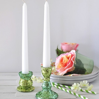 DIY Two toned Glitter Candle Holders