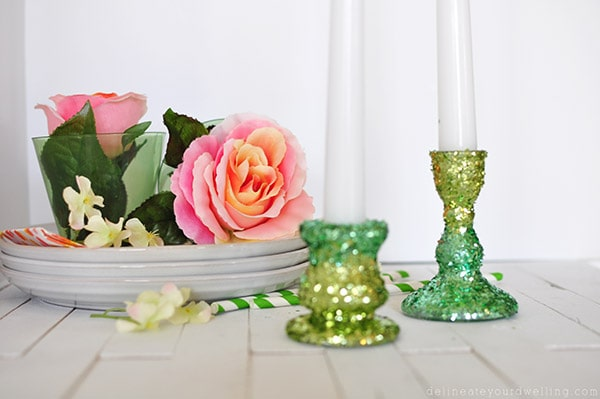 2 Toned Glitter Candle Holder, Delineateyourdwelling.com