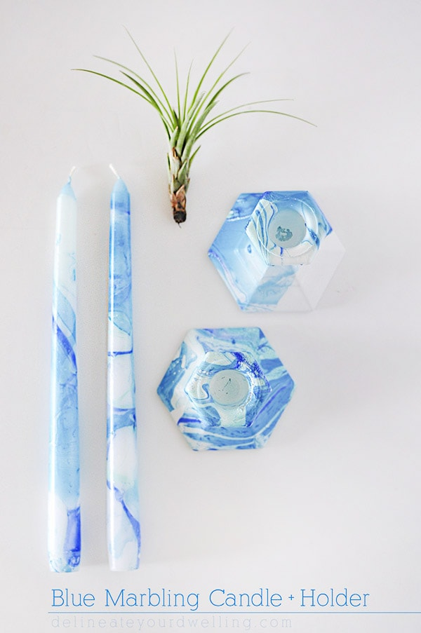 Creative technique, Blue Marbling Candle Holder @Delineateyourdwelling