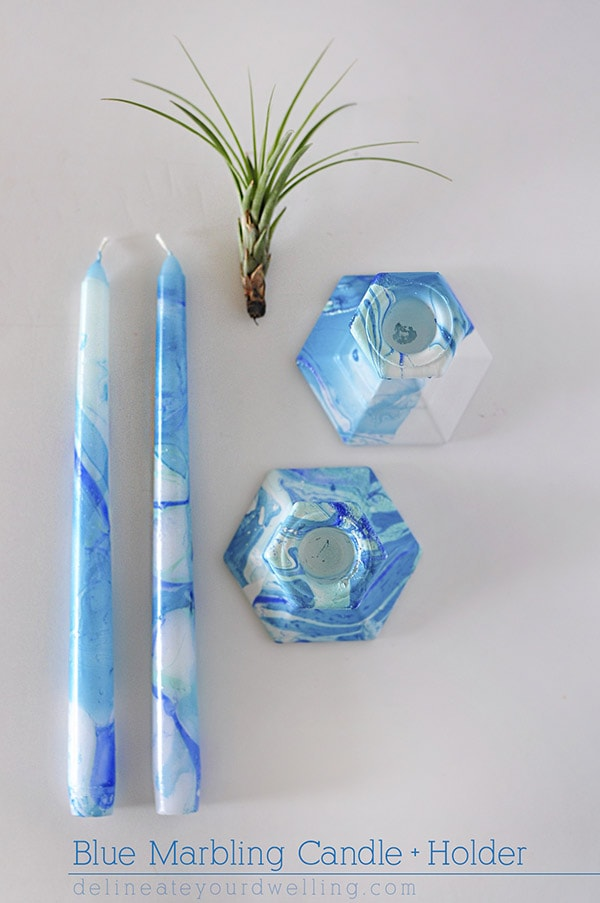 Blue Marbling Candle Holder, Delineateyourdwelling.com