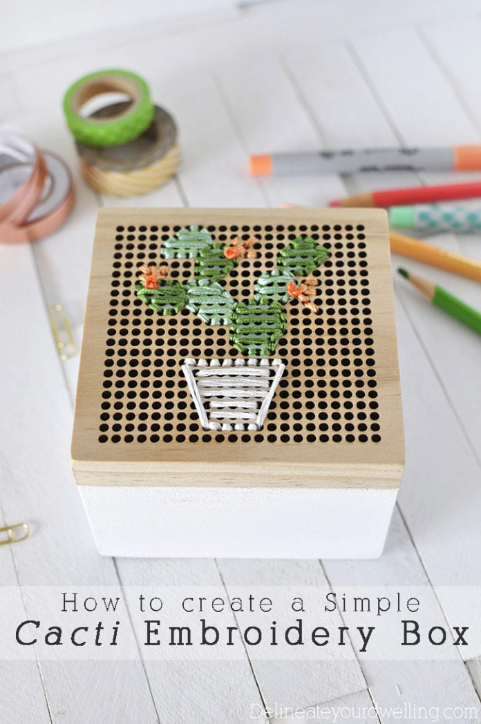 Simple Cacti Embroidery Box, Delineateyourdwelling.com