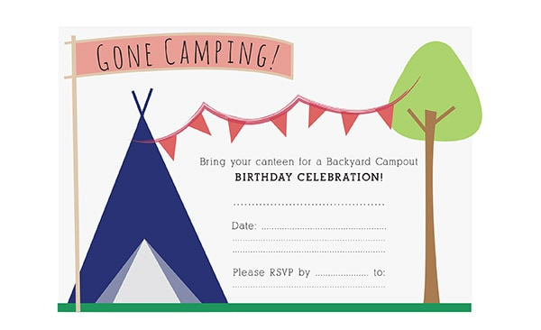 Camping Birthday Invite