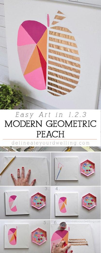 Easy Modern Geometric Peach Art, Delineateyourdwelling.com