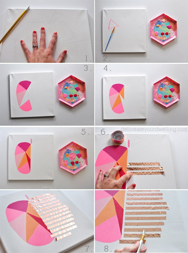 Modern Geometric Peach steps