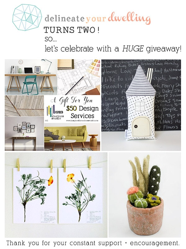 Second Year Blogging Giveaway, Delineateyourdwelling.com