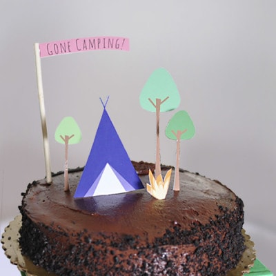 Camping themed Birthday Cake, Delineateyourdwelling.com