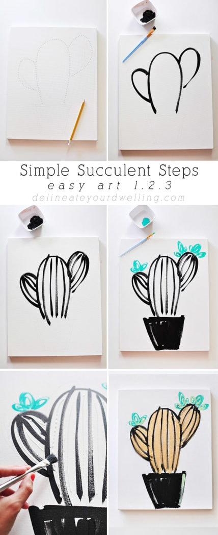 Easy art in 1 2 3 simple succulent for Simple paintings to draw
