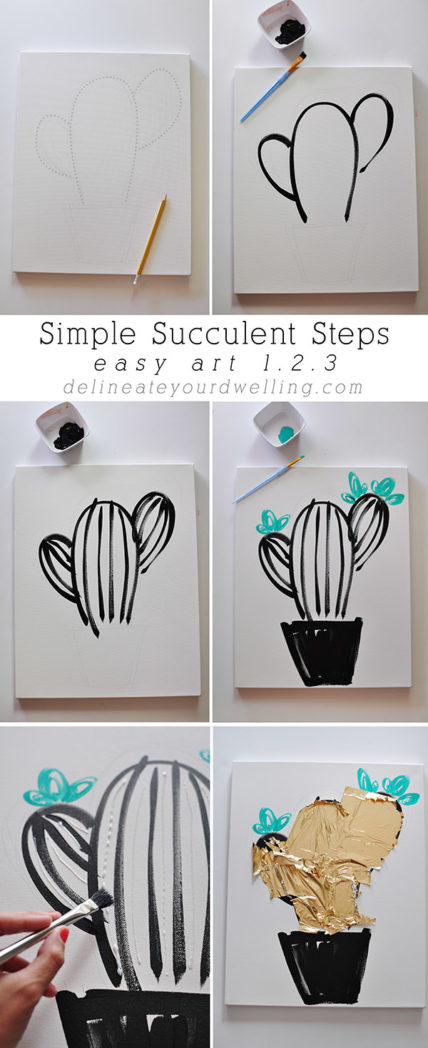 Easy Art, Simple Succulent steps