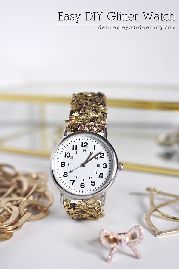 Easy DIY Glitter Watch, Delineateyourdwelling.om