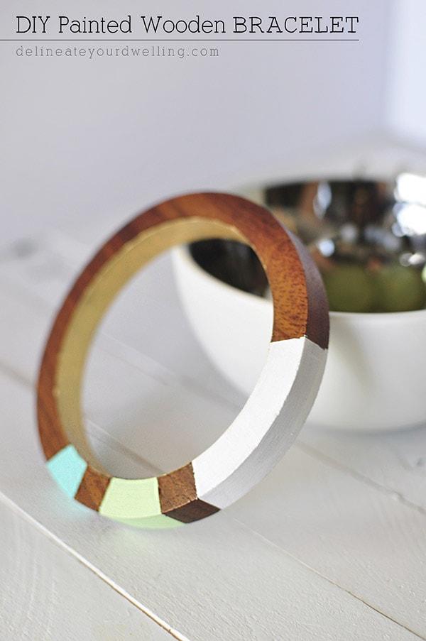 DIY Painted Wooden Bracelet, Delineateyourdwelling.com