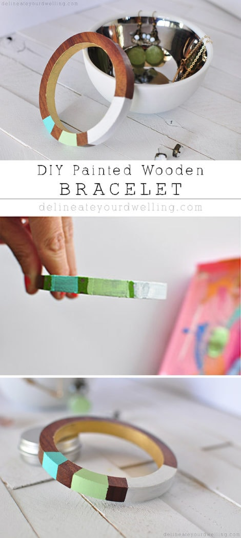 Simple Painted Wooden Bracelet, Delineateyourdwelling.com