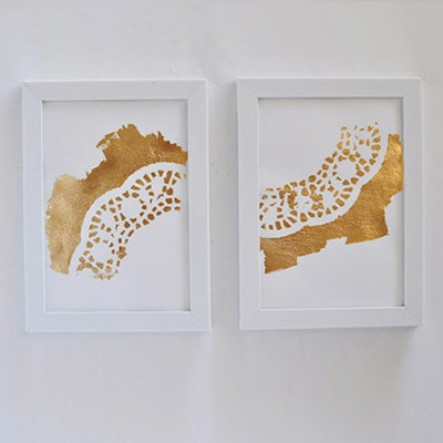 2 Gold Foil Doily Art