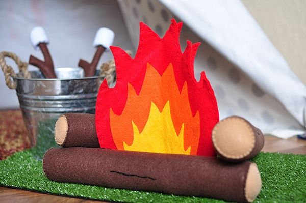 Camping themed bday party felt fire